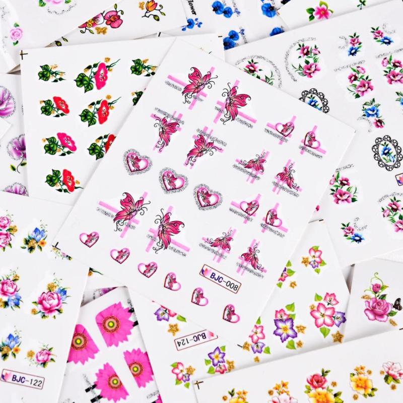 Set 5 tấm nail sticker bông dán móng (hình xăm nước dán móng) mã BJC nhập khẩu