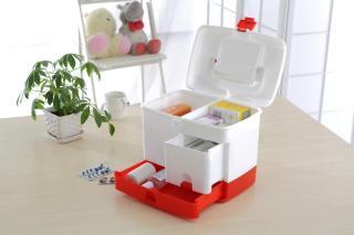 Tủ đựng thuốc và dụng cụ y tế - Mẫu tủ 3 tầng tiện dụng(trắng phối hợp đỏ) thumbnail