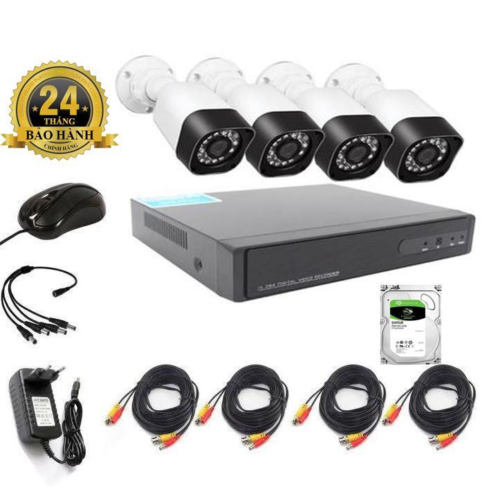Trọn bộ 4 mắt Camera giám sát AHD Full HD 1080N Dung lượng ổ đĩa cứng 500G và đầy đủ phụ kiện lắp đặt Nhật Bản