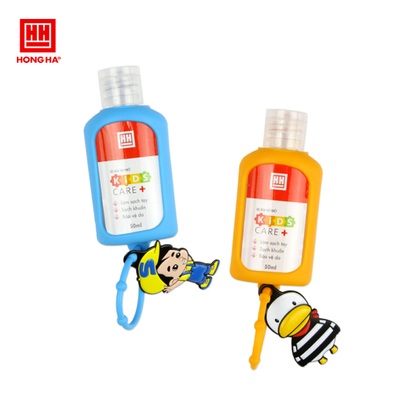 Set gel rửa tay khô kèm móc treo balo Hồng Hà Kids care+ 50ml 8202 (2 lọ gel rửa tay khô + 1 dây treo Silicone) nhập khẩu