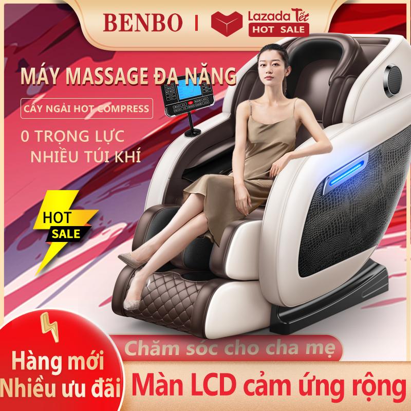 [HCM]Jghế massage máy mát xa toàn thân kiểu phi thuyền không trọng lực bảng điều khiển LCD cảm ứng cỡ lớn da hoa