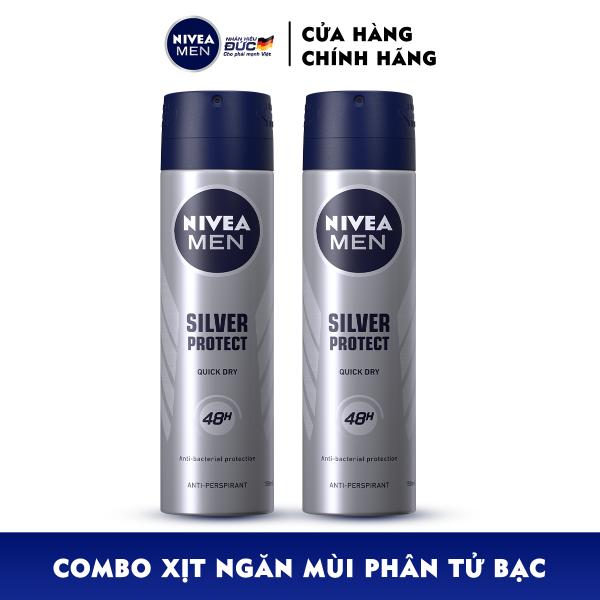 Bộ đôi Xịt Ngăn Mùi NIVEA MEN Silver Protect Phân Tử Bạc Giảm 99.9% Vi Khuẩn Gây Mùi (150ml) - 82959 giá rẻ