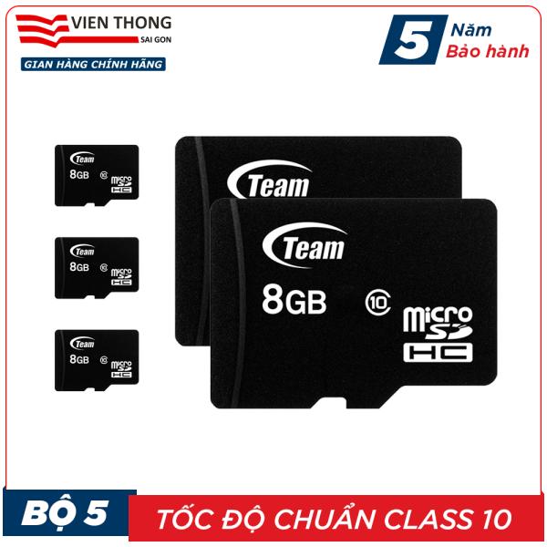 Bộ 5 Thẻ nhớ 8GB micro SDHC Team Class 10 - Hãng phân phối chính thức