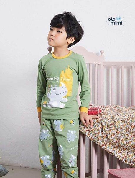 Nơi bán Bộ pijama dài dáng rộng 100% cotton cho bé trai Painting Rhino - Olomimi Hàn Quốc