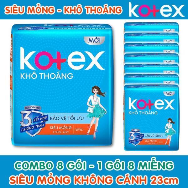 Ba gói băng vệ sinh Kotex Siêu Mỏng Không Cánh 23cm ( 1 Gói 8 Miếng ) cao cấp