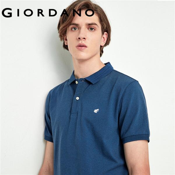 Áo thun có cổ polo nam thiết kế đơn giản chất liệu cao cấp thấm hút mồ hôi chi tiết thêu Giordano quốc tế 01010398