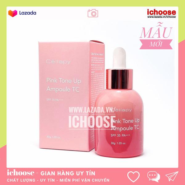 Serum dưỡng trắng hồng, nâng tone Cellapy Pink Tone Up Ampoule chống nắng, căng bóng da, Tinh chất cellapy mẫu mới
