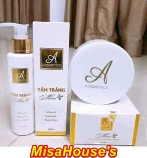 Combo tắm trắng và kem body mềm A Cosmetics giúp dưỡng trắng da toàn thân - Đánh bay làn da tối màu thumbnail