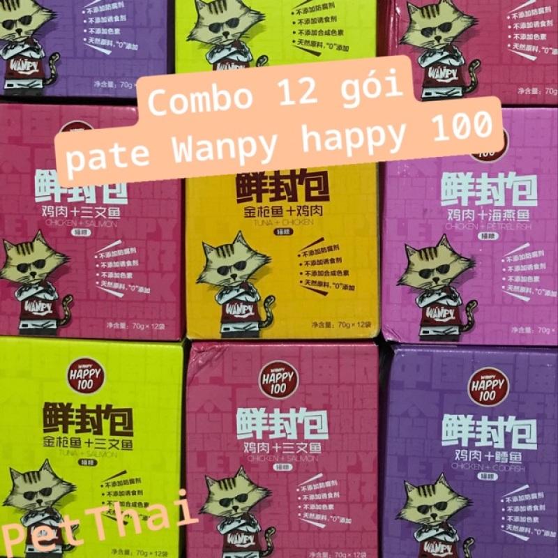 Hộp 12 gói pate cho mèo Wanpy happy 100(Mix 4 vị)