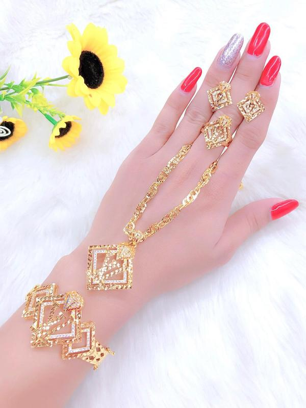 Bộ Trang Sức Cao Cấp - Givishop - B40707107 , Bền Màu, Sáng Như Vàng Thật, Chất Liệu Bạc Thái, Không Đen, Không Ngứa - Thiết Kế Đi Tiệc, nữ trang bộ vàng 18k, trang sức vàng, nữ trang vàng, bộ trang sức cưới vàng 18k, bộ vàng cưới