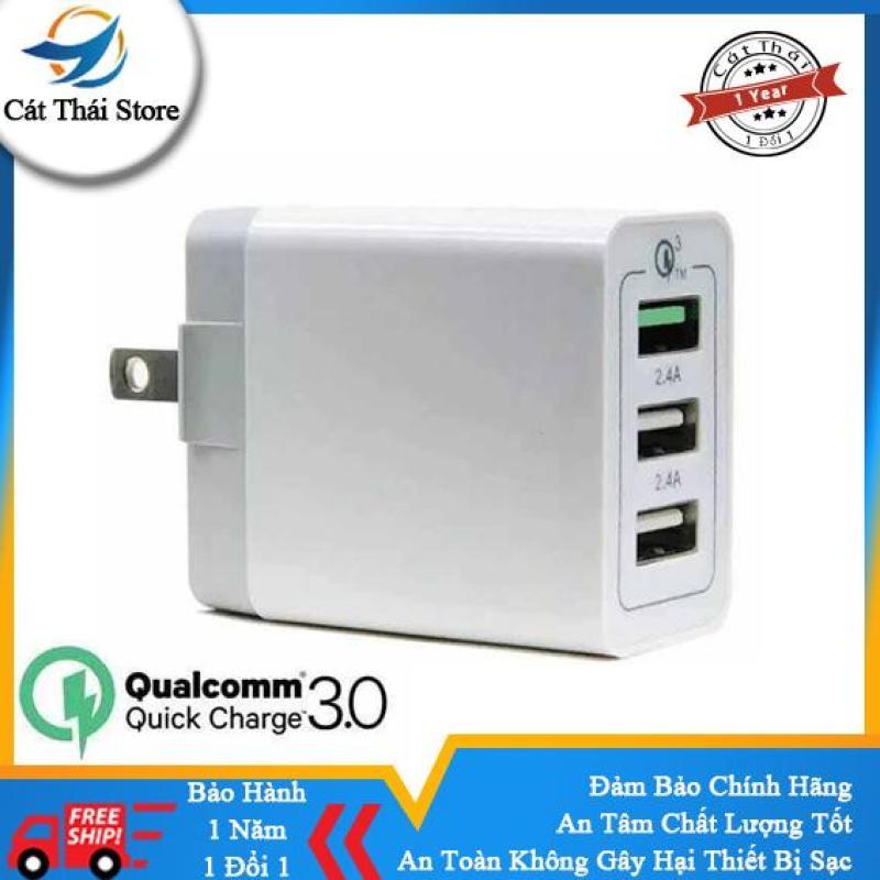 Giá Đầu Củ Cốc sạc Qualcomm 3.0 sạc nhanh 3 cổng sạc USB đảm bảo an toàn sạc nhanh các dòng iPhone,SamSung,OPPO,XiaoMi