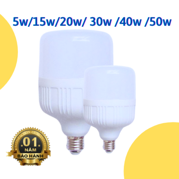 Bóng đèn led trụ 5w, 10w, 15w, 20w, 30w, 40w, 50w, bóng led bulb siêu tiết kiệm điện Đèn LED Bulb