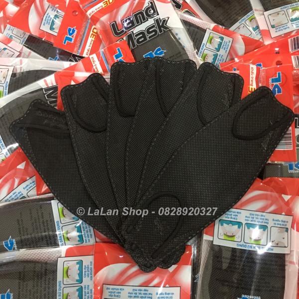 Khẩu tran g 3D Land Mask có thể tái sử dụng (gói 6c, màu đen-black)/3D 마스크/4層マスク