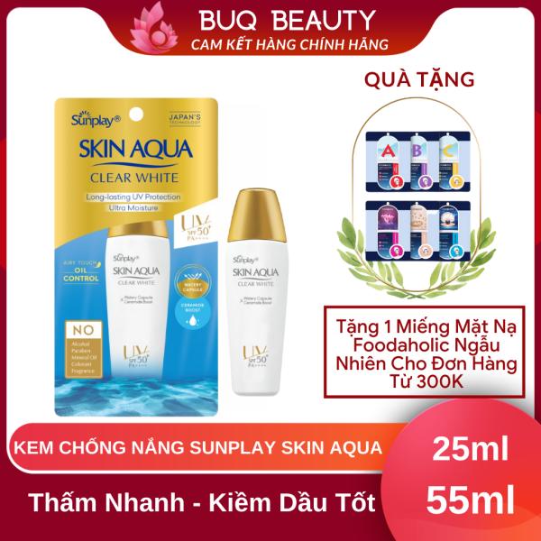 Kem chống nắng Skin Aqua Nắp Vàng - KCN Sunplay Skin Aqua Clear White SPF50+, PA++++55G VÀ 25G