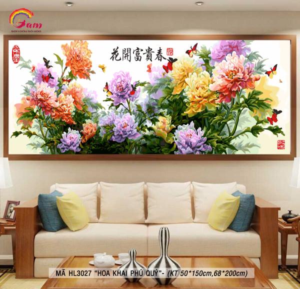 Tranh trang trí treo tường sơn dầu tự tô Gam khổ lớn Hoa khai phú quý HL3027