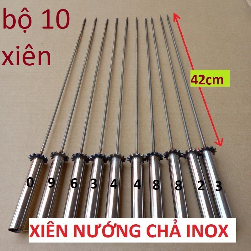 Bộ 10 Que xiên inox chuyên dùng nướng thịt ( cho máy nướng tự động ) xien nuong cha