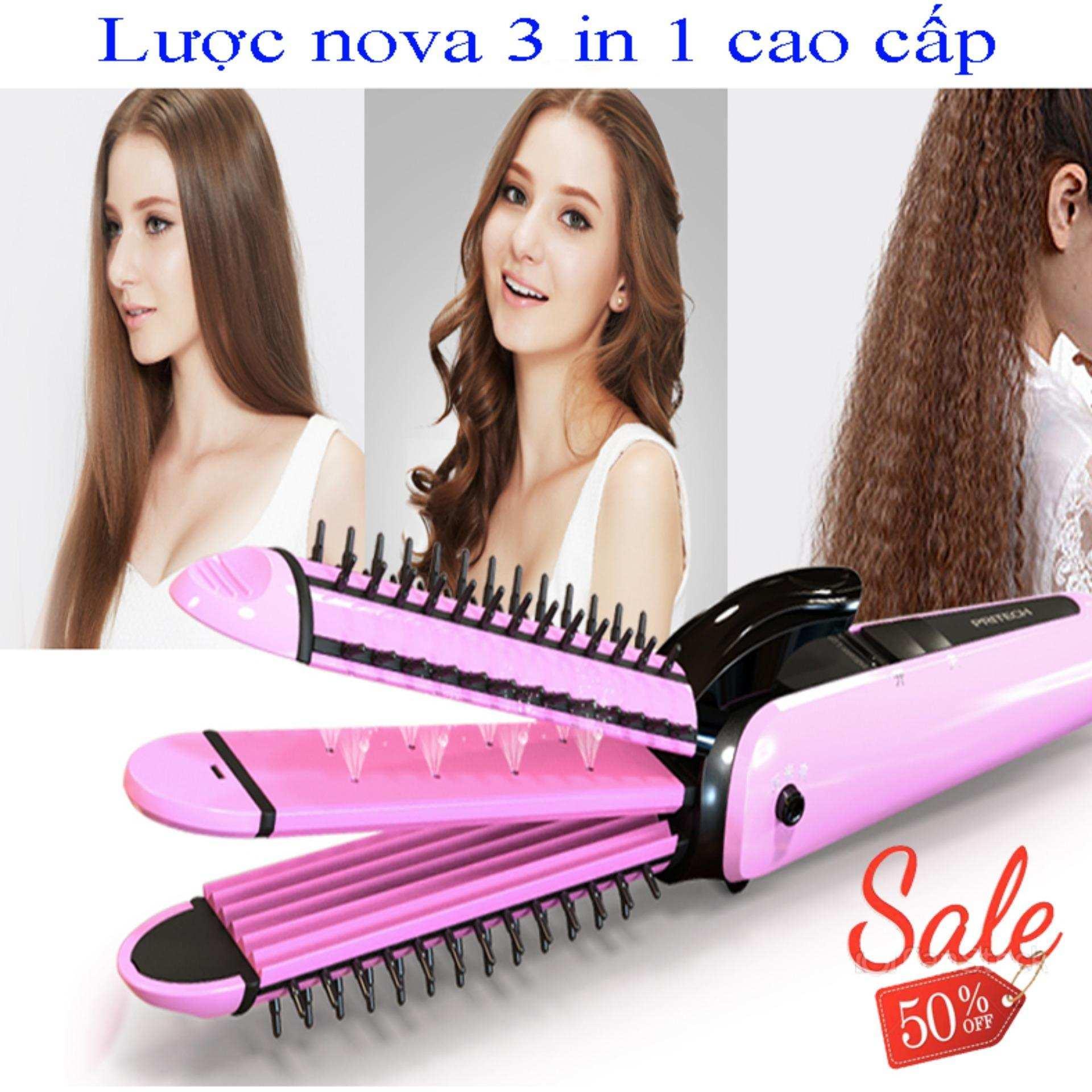 Lược làm tóc, Máy Uốn-Là-Dập tóc đa năng , Lược NOVA 3 trong 1, Uốn-Là-Dập 1 cách nhanh chóng tiện lợi dễ sử dụng,