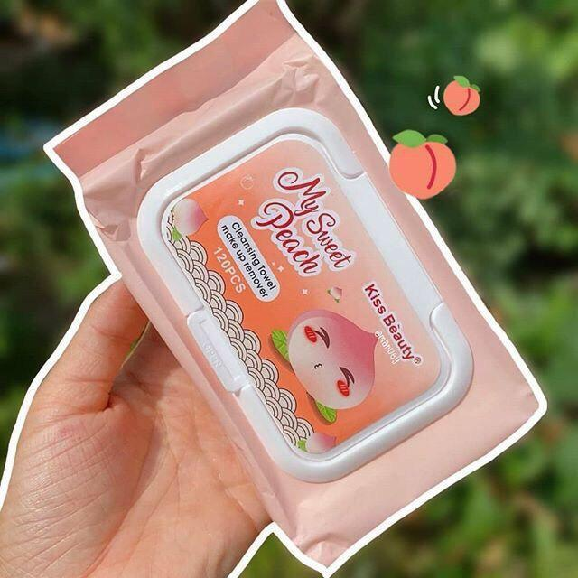 Khăn giấy ướt tẩy trang Kiss Beauty my sweet peach 120 tờ