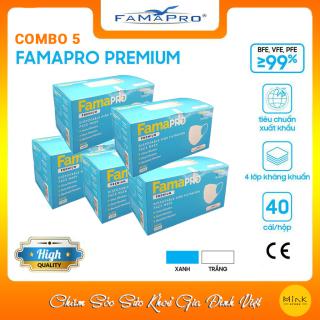 [Chính Hãng] Combo 5 Hộp Khẩu Trang Y Tế Cao Cấp Famapro Remium Tiêu Chuẩn Quốc Tế [Giá Ưu Đãi Hộp 40 Cái Xuất Khẩu Mỹ] thumbnail