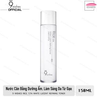 Nước Hoa Hồng 9 Wishes Rice 72% White Lucent Refining Toner 150ml - Dưỡng Ẩm, Cân Bằng và Dưỡng Trắng Da thumbnail