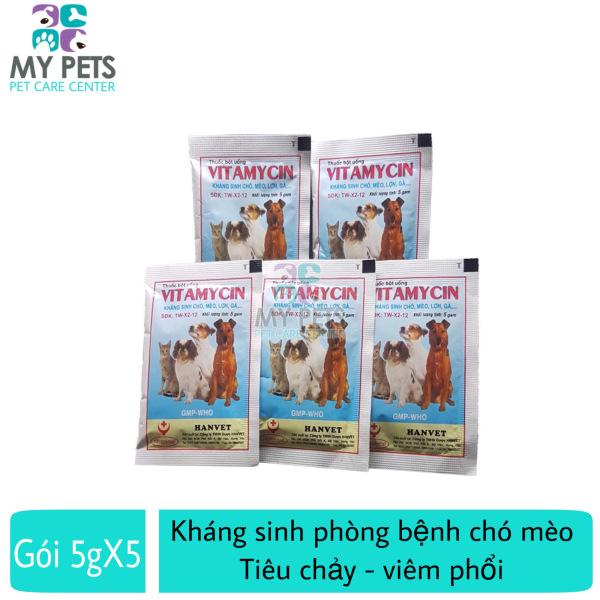 Thuốc trị tiêu chảy, viêm phổi, ho cho chó mèo - 05 gói Hanvet vitamycin