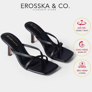 Dép cao gót thời trang Erosska mũi vuông kiểu dáng xỏ ngón phối dây quai mảnh gót nhọn cao 7cm EM060 (BR) thumbnail