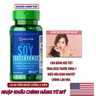 Viên uống Vitamin Mỹ bổ sung nội tiết tố, chậm lão hóa, giúp giảm cáu gắt, bốc hỏa, khó ngủ, da chảy xệ, tóc khô và tích mỡ bụng của phụ nữ trung niên chiết xuất mầm đậu nành không biến đổi gen Non-GMO Soy Isoflavones 750mg 60 viên thumbnail