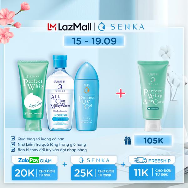 Bộ sản phẩm bảo vệ và giảm mụn Senka( chống nắng UV Gel 80ml+nước sữa tẩy trang Milky 230ml+sữa rửa mặt Acne 100g) nhập khẩu