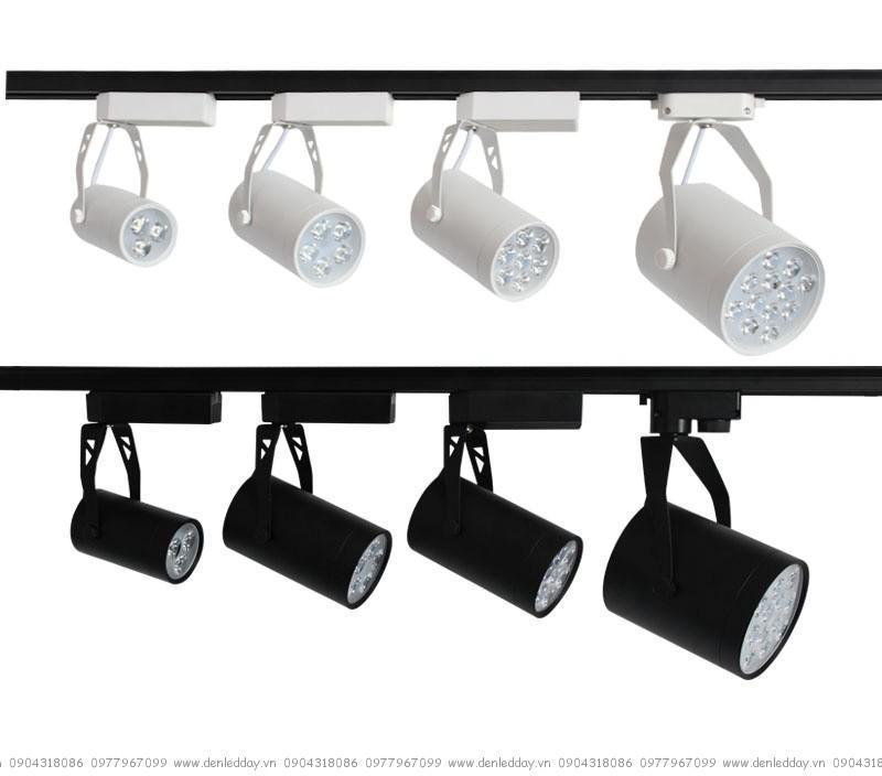 Bộ 8 đèn led rọi thanh ray 7w vỏ đen  ánh sáng trắng /vàng và 2 thanh ray 1 mét màu đen