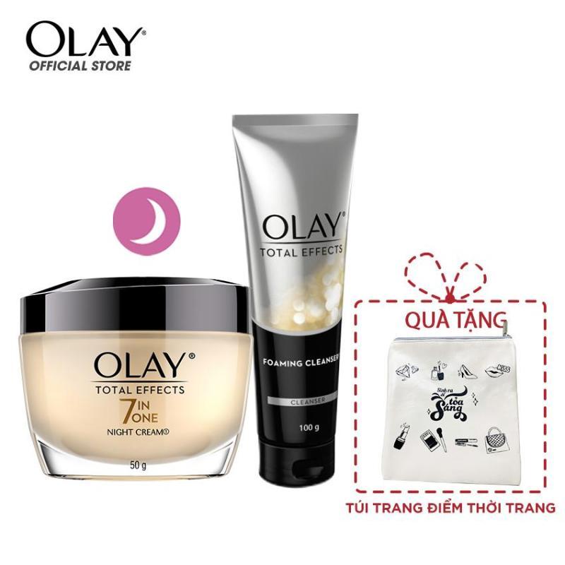 Combo chăm sóc chống lão hóa sớm Kem dưỡng đêm và Sữa rửa mặt dạng kem Olay Total Effect - tặng Túi trang điểm thời trang
