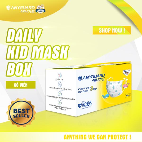 Khẩu Trang Trẻ Em Hàn Quốc Anyguard 3 Lớp Chính Hãng - Có Viền (Hộp 50 cái) - 베이비 마스크 - Face Mask For Kids