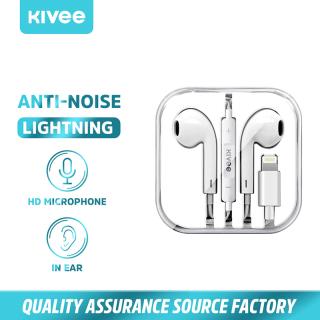 Tai nghe iphone bluetooth có dây hãng Kivee kèm cửa sổ cảnh báo, đầu tai nghe màu trắng có nút điều chỉnh âm lượng ở giữa phù hợp với iphone iphone11 thumbnail