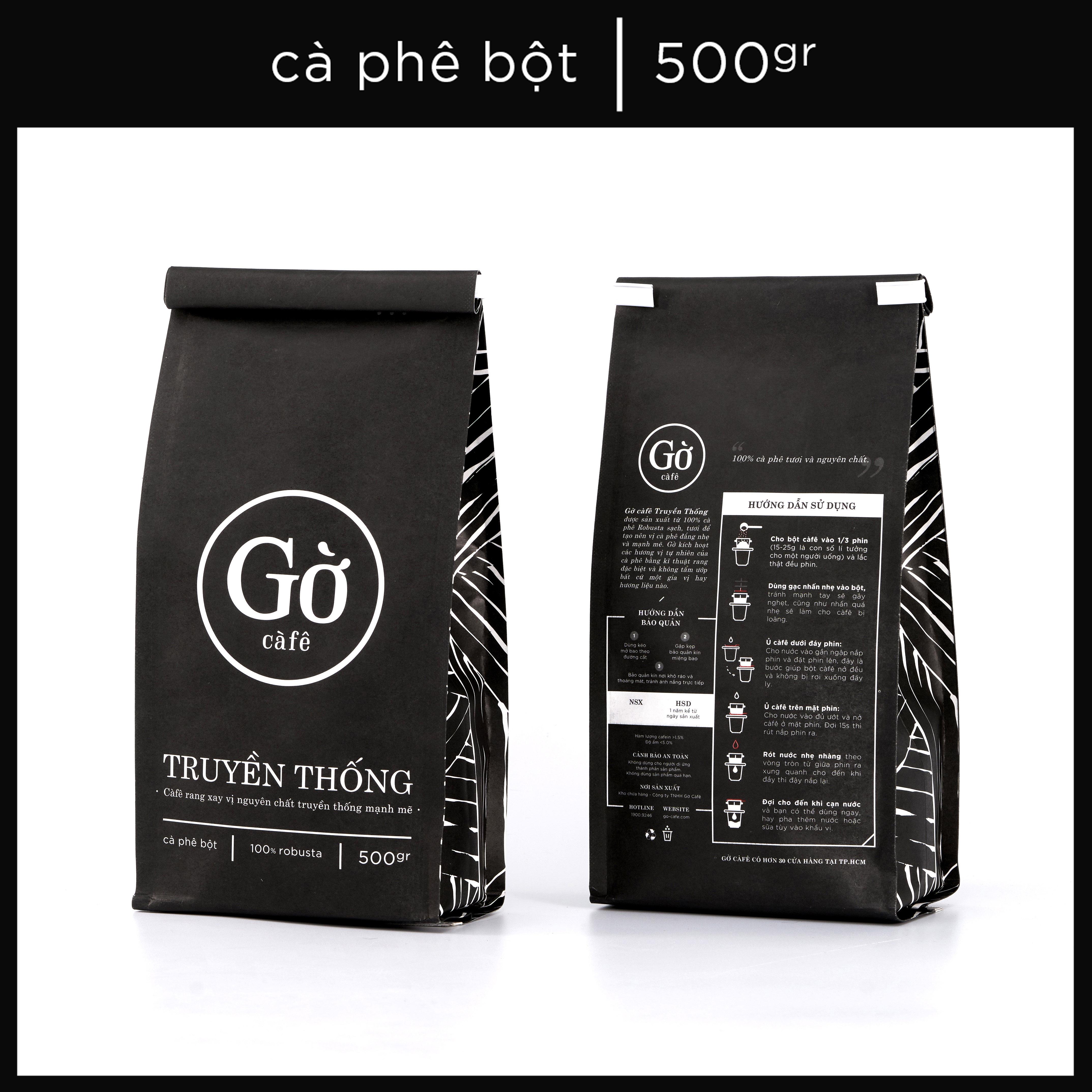 500GR- Gu TRUYỀN THỐNG (đậm đà) - Cà phê bột rang xay nguyên chất 100% Robusta - Gờ cafe