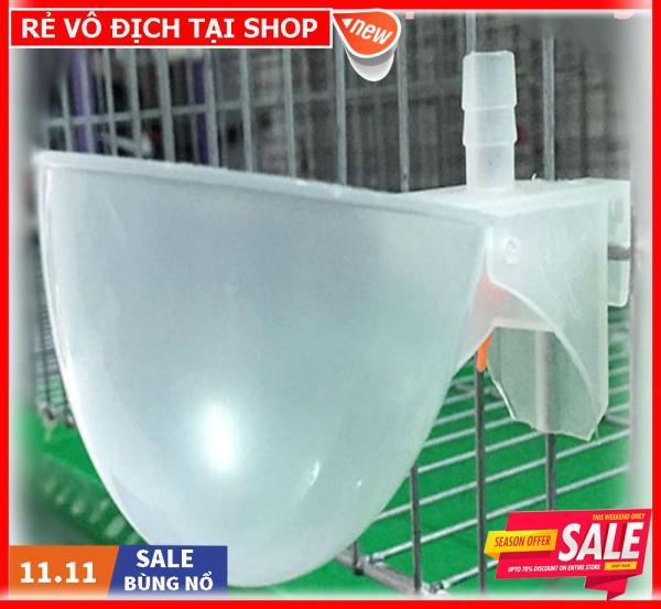 Combo 10 chén uống tự động cho chim câu loại máng nhựa màu trắng tặng kèm 10 tút nối chữ T rẽ nhánh
