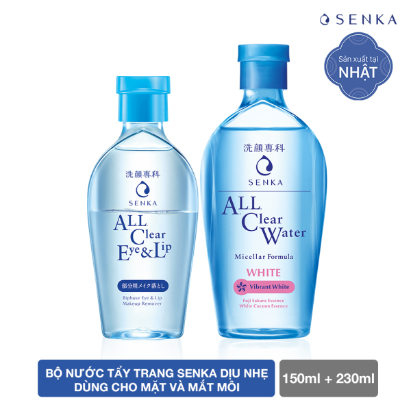 Nước tẩy trang Senka dịu nhẹ dùng cho mặt và mắt môi 150ml tặng nước tẩy trang SENKA A.L.L. CLEAR WATER Micellar Formula White 230ml giá rẻ