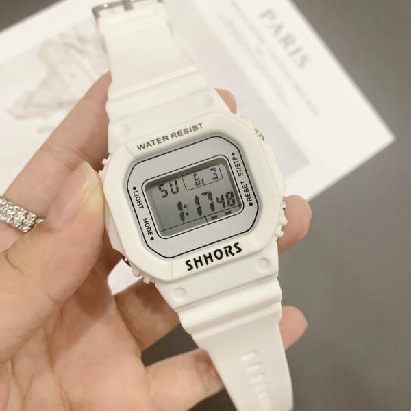 Đồng hồ nữ thể thao Shhors water resist mặt chữ nhật dây cao su size 36x32mm