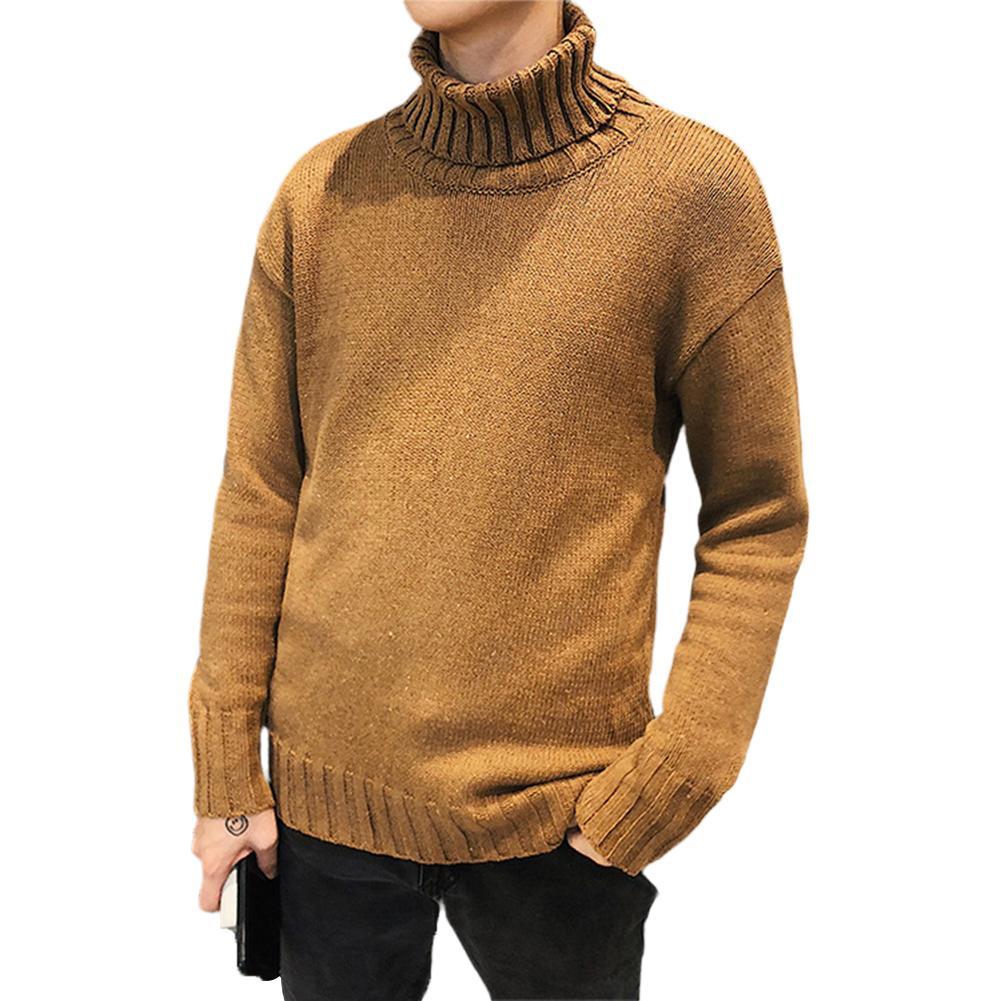ผู้ชายแฟชั่นหลวมคอสูงสบายๆถักแขนยาวเสื้อกันหนาวหลวม.