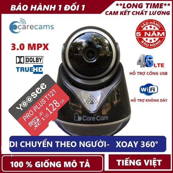 Tùy chọn kèm thẻ nhớ Yoosee 128 GB-Camera ip wifi Carecam 3.0 Mpx Xoay 360° Cổng USB 4G