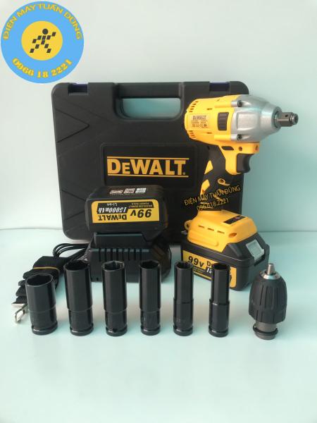Máy siết bulong Dewalt 99v, 2 pin, đầu 2 trong 1, 100% dây đồng, không chổi than, tặng 6 đầu khẩu dài - đầu khoan 10N