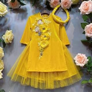 áo dài nhung đáp hoa cao cấp bé yêu