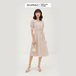 Váy đầm nữ đẹp thiết kế rã tùng quyến rũ cổ ren nổi bật dáng xòe THUN COTTON thời trang GUMAC mẫu mới DB3124 chất liệu THUN COTTON cao cấp màu hồng trẻ trung cá tính thumbnail