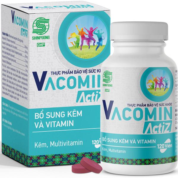 Vitamin Tổng Hợp Và Kẽm Hữu Cơ – Tăng Cường Sức Khỏe – Hỗ Trợ Nâng Cao Sức Đề Kháng – Bổ Sung Vitamin Nhóm B, E, C và Kẽm Shinpoong Vacomin ActiZ - Hộp 120 viên cao cấp