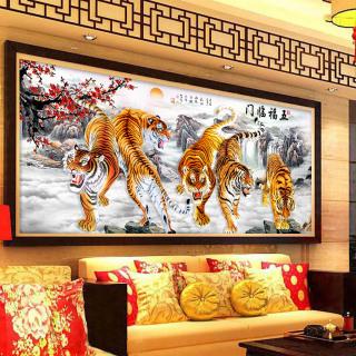 Tranh treo tường ngũ hổ tọa sơn in trên canvas có khung trang trí phòng khách, phòng ngủ (10165506) thumbnail