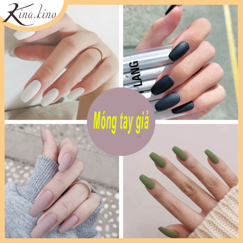 Móng tay giả Cao Cấp Set 24 móng- Nail giả móng dài- Kinakino phụ kiện làm đẹp