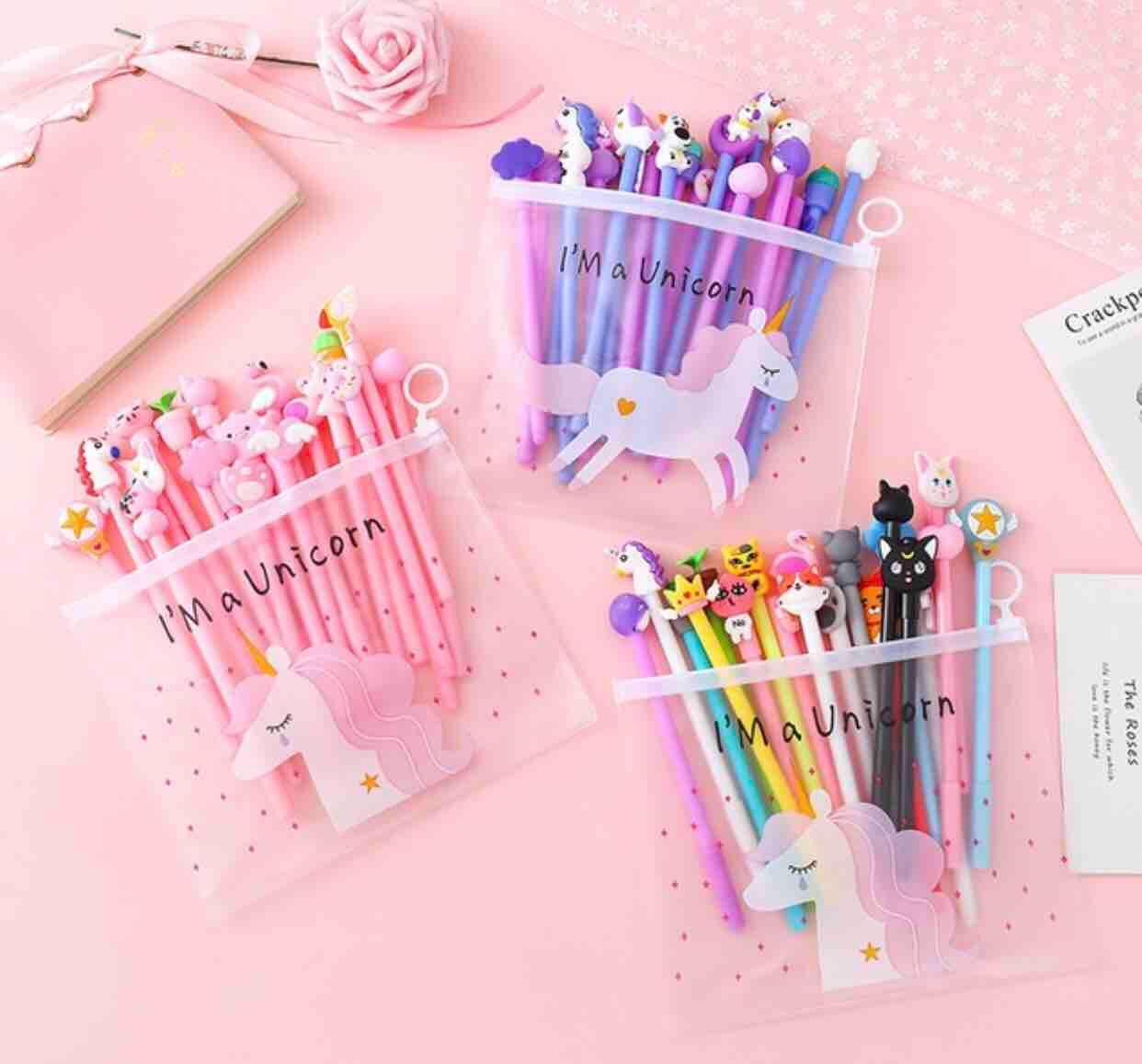 Mua Set 20 chiếc bút đáng yêu tặng kèm ví đựng(mực đen)