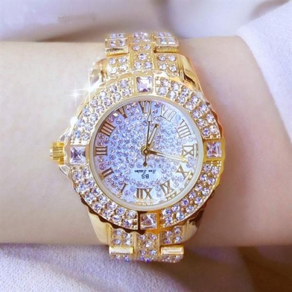Đồng hồ nữ đẹp BEE SISTER MEMES Đính đá siêu đẹp chống bay màu chống nước  + Tặng Hộp - Pin và vòng tay