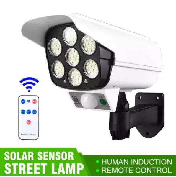 Đèn led năng lượng mặt trời Giả Camera chống trộm cảm ứng 77 led