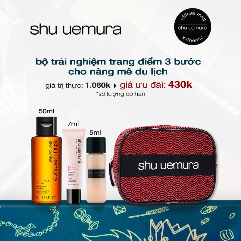 bộ trải nghiệm 3 bước trang điểm shu uemura (dầu ultime8 50ml, kem nền unlimited 5ml, kem lót block:booster pink 7ml)