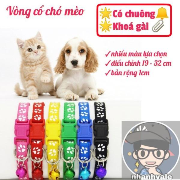 [Lấy mã giảm thêm 30%]Vòng dây đeo cổ chó mèo có chuông và khoá gài rộng 1cm dài điều chỉnh 19 - 32 cm