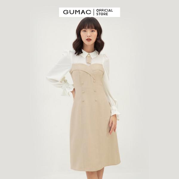 Nơi bán Váy đầm nữ đẹp thiết kế cách điệu tay dài phối nút thời trang GUMAC mẫu mới DB3108 chất liệu cotton thoải mái mềm mát dễ chịu phù hợp chốn công sở đi chơi dự tiệc trẻ trung quyến rũ